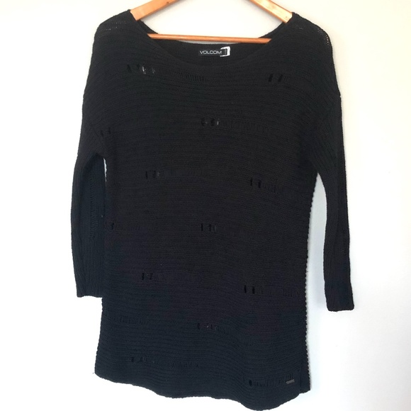 Volcom Black Distressed Sweater